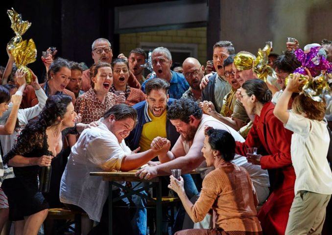 Sian Pendry as Lola, Diego Torre as Turiddu, Samuel Dundas as Silvio and the Opera Australia Chorus in Opera Australia's production of Cavalleria Rusticana / Pagliacci.