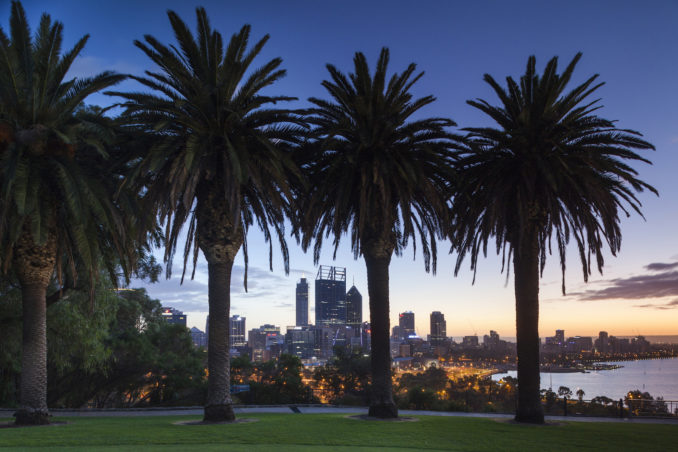 Perth skyline from a park