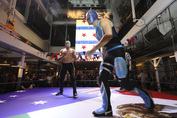 mexican wrestlers march into merivale