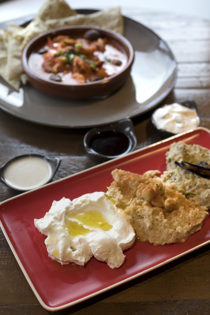 Old City Newtown THE F DIPS TRIO_A delicious trio of our homemade Dips, baba ganouj, hummus, labne & pita bread