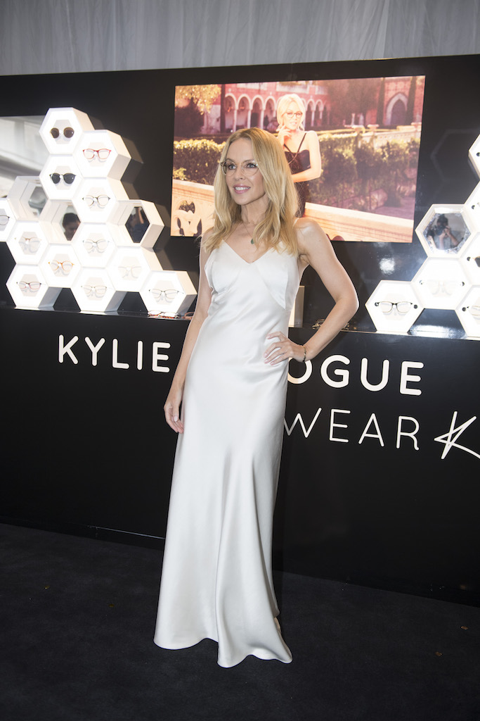 Specsavers_Kylie Minogue Eyewear launch_Kylie Minogue_honey comb wall