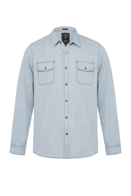 GUESS MENS_REGULAR FIT DENIM SHIRT_BOTTLE BLUE WASH_$129.95