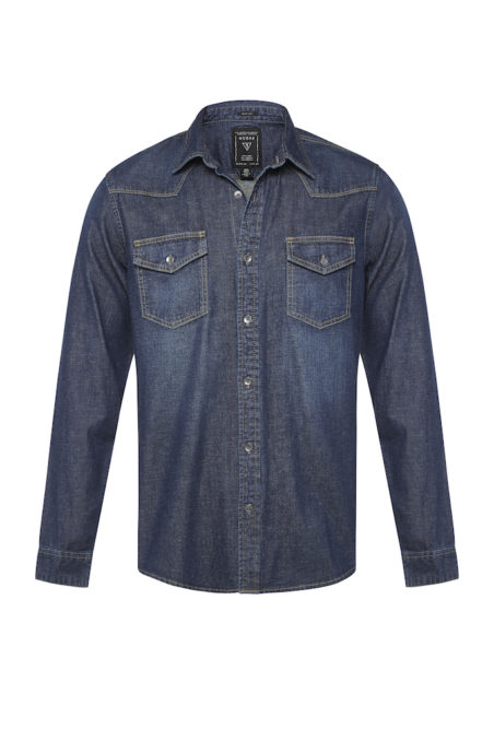 GUESS MENS_WESTERN SLIM FIT SHIRT_TREASURE BLUE WASH_$129.95