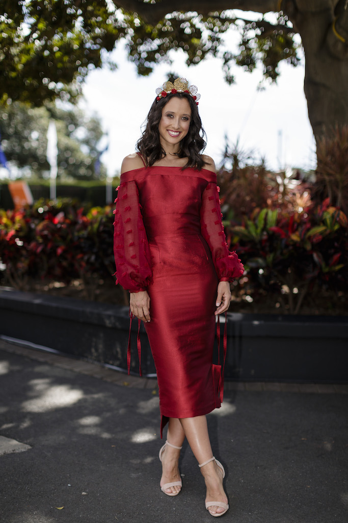 Teigan Nash in red at the races