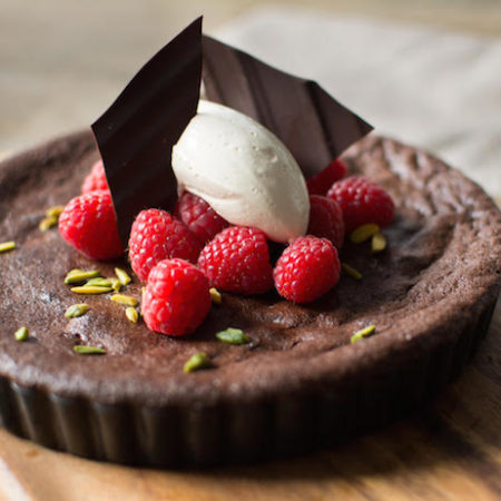 Baked dark chocolate mousse cake
