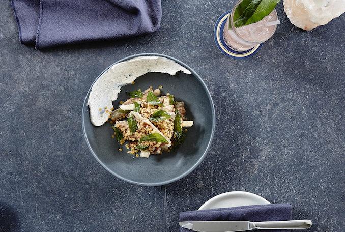 Husk & Vine Kitchen and Bar crispy lamb ribs, date & tamarind glaze, labneh 2