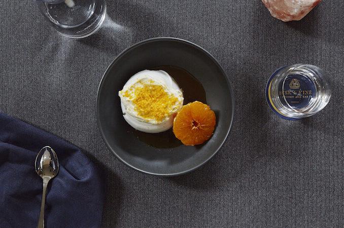 Husk & Vine Kitchen and Bar pavlova, orange blossom cream, tangerine