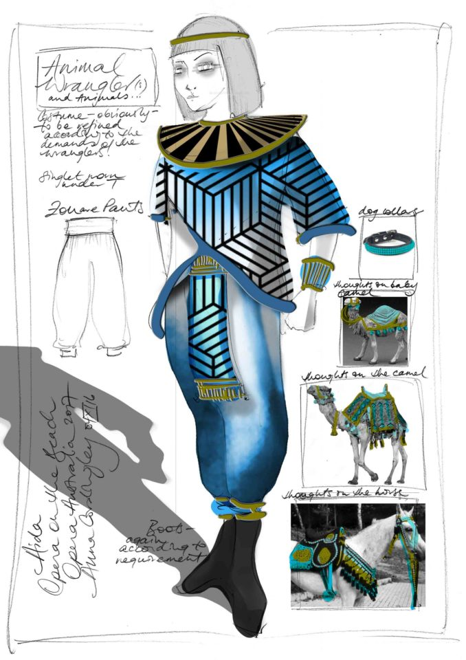 Animal wrestlers Aida Opera Australia costume sketch