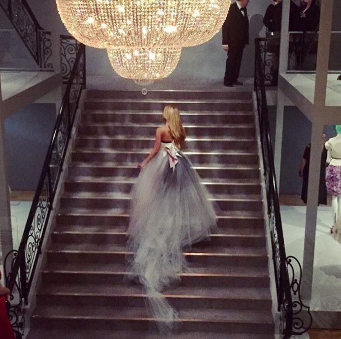 Dior exhibition 70 years haute couture NGV Melbourne stairs