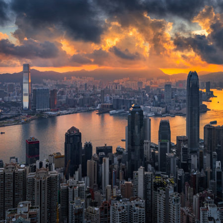 Sunrise over Victoria Harbor as viewed atop Victoria Peak, Hong Kong.