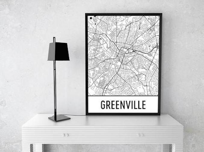 Modern Map Art Greenville