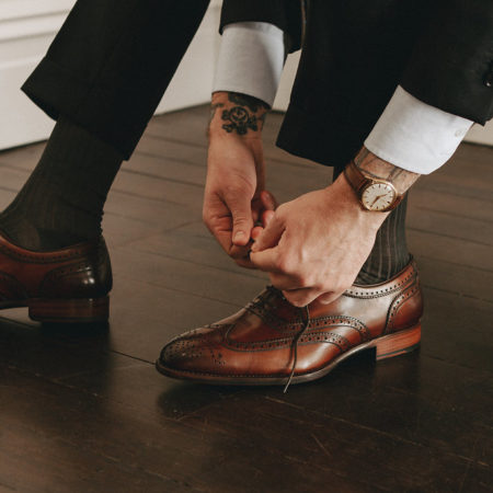 Oscar Hunt Brogue Brown tying shoe laces