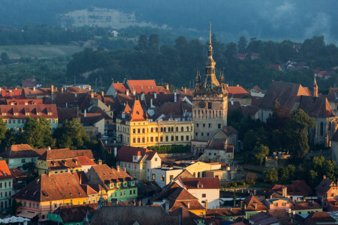 Cityscape at sunrise, Sighisoara, Transylvania, Romania