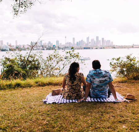 Wine Clark Island Sydney Harbour September couple