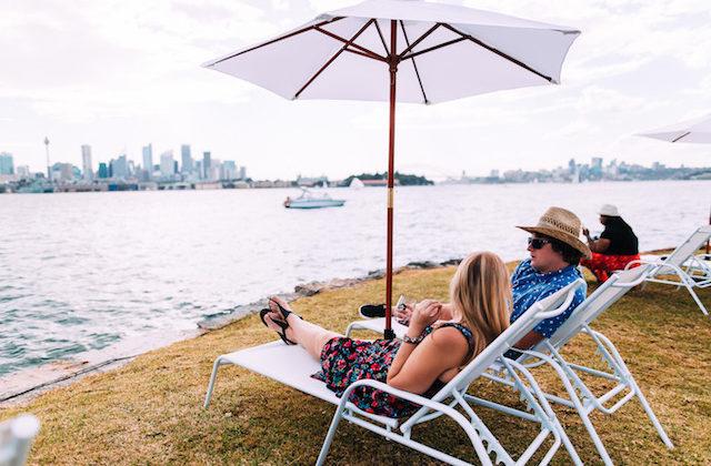 Wine Clark Island Sydney Harbour September lounge chairs