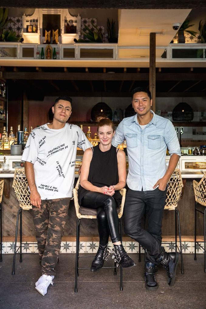 Chef Alvaro Valenzuela, Nicole Galloway and Peter Lew in Chula