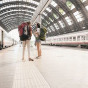 Eurail train Backpackers at Milan train station, Italy