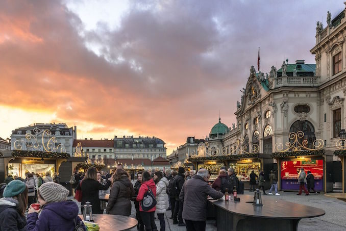 Eurail train Christmas market in front of Hofburg Palace in Vienna, Austria