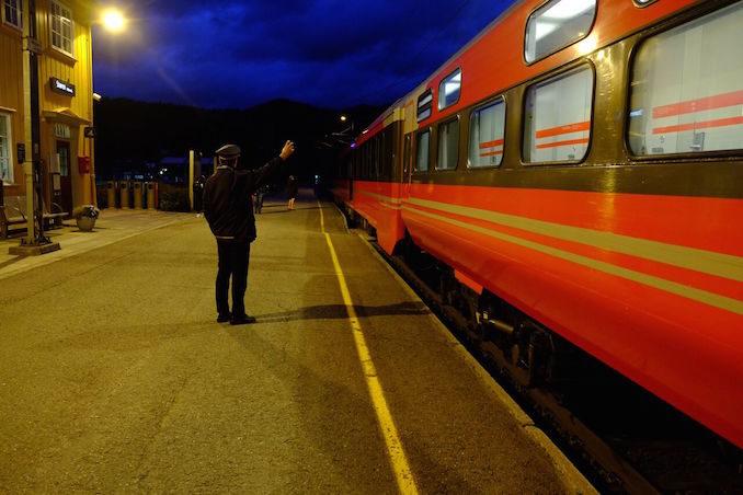 Eurail train NSB train staff in front of Norwegian highspeed train