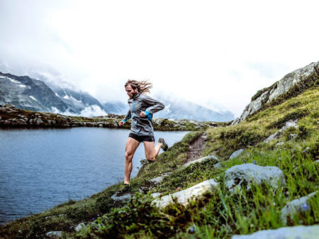 Man running lake