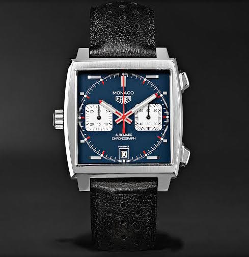 MONACO MATT BLUE DIAL CHRONOGRAPH AUTOMATIC 39MM BLACK PERFORATED LEATHER STRAP