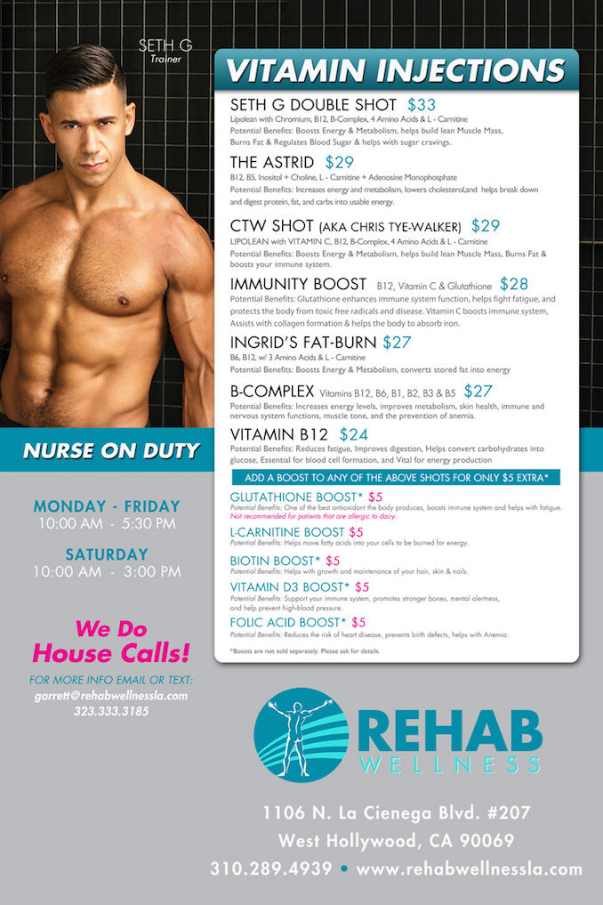 Rehab Wellness IV drip shot West Hollywood menu