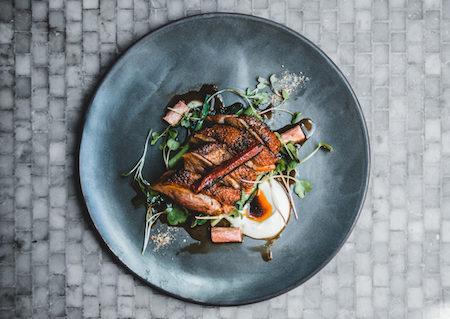 Glass Brasserie Hilton Sydney Rhubarb duck