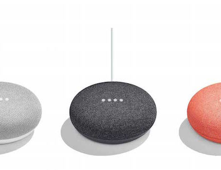 Google Home Mini three colours side