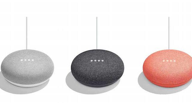 Google Home Mini three colours side