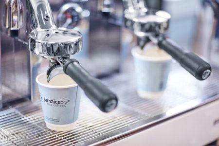 Jamaica Blue Media Roastery Tour coffee cup machine