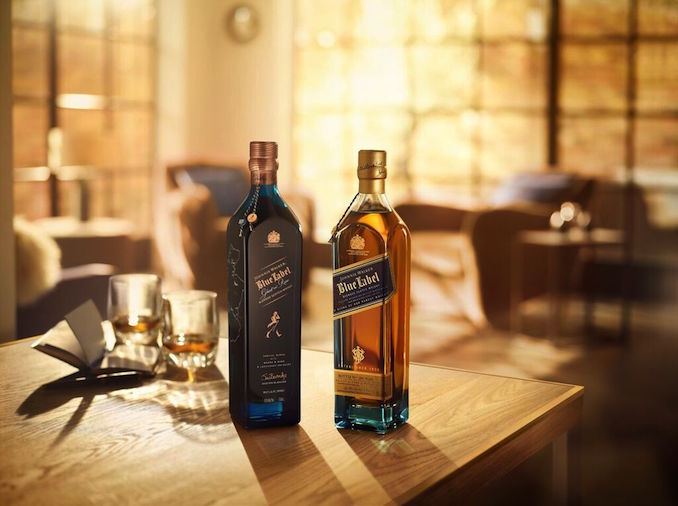 Johnnie Walker whiskey blue bottle