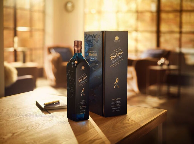 Johnnie Walker whiskey blue bottles