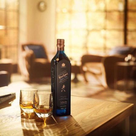 Johnnie Walker whiskey blue glasses