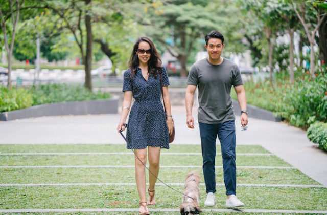 Asian couple with dog