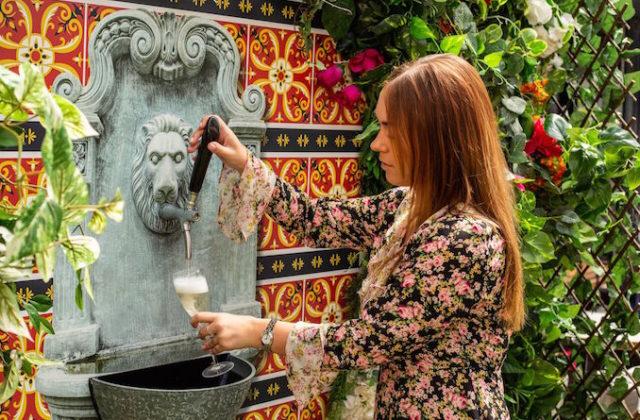 Winery prosecco fountain