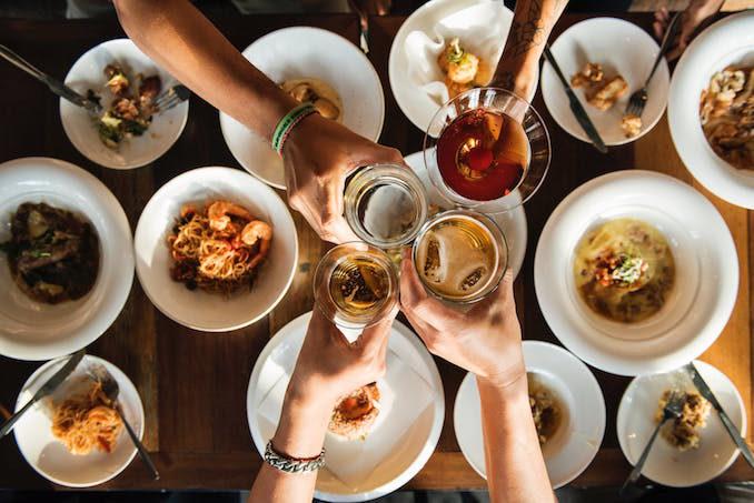 Dinner food cheers wine