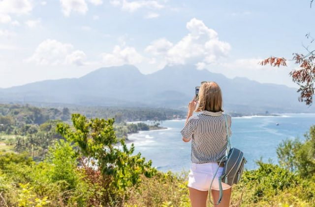Girl backpack travel photo