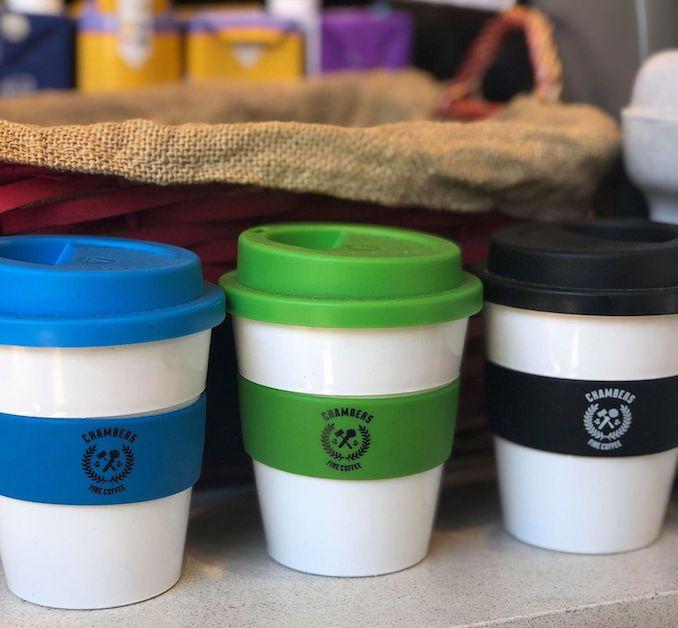 Chambers Fine Coffee reusable coffee cups