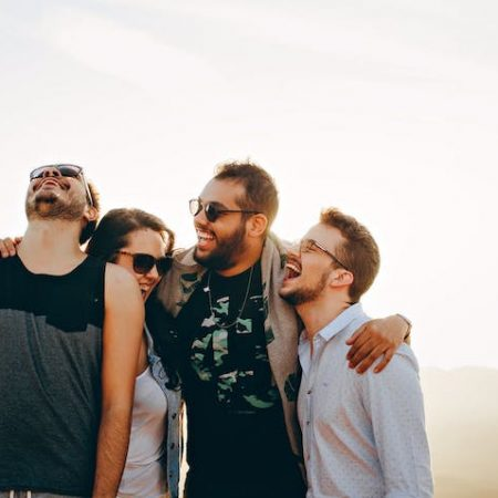 Happy laughing group