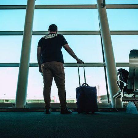 Man airport suitcase