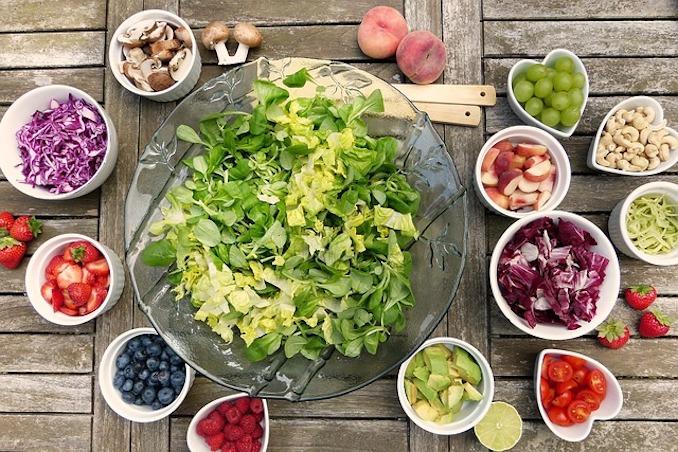 Food salad flat lay
