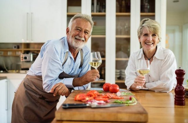 Old couple wine