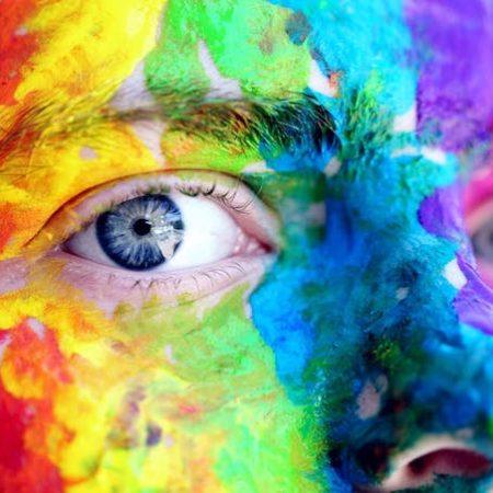 Gay rainbow paint eye