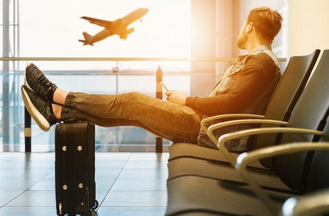 Man airport plane travel