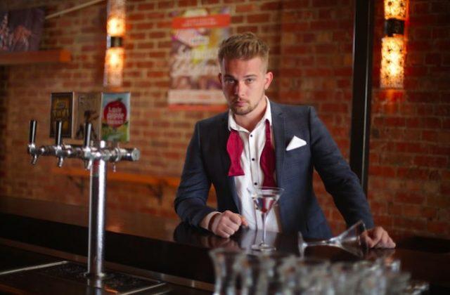 Gay man suit cocktail