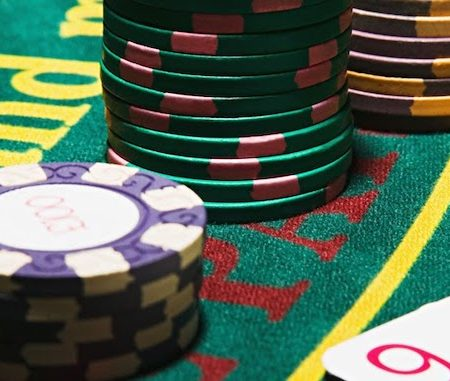 gambling chips on a gaming table