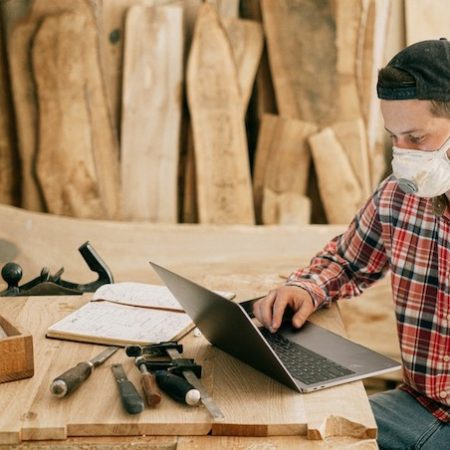 Desk wood work man